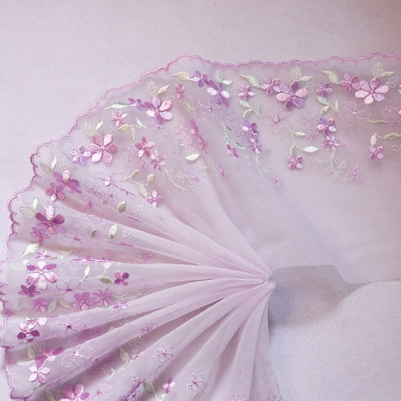 2 Meters 5.98/'/' Wide Indie Pop Floral Leaves Embroidered Lace Trims Purple Mesh Lingerie Bra Dress Decor Handmade DIY Materials