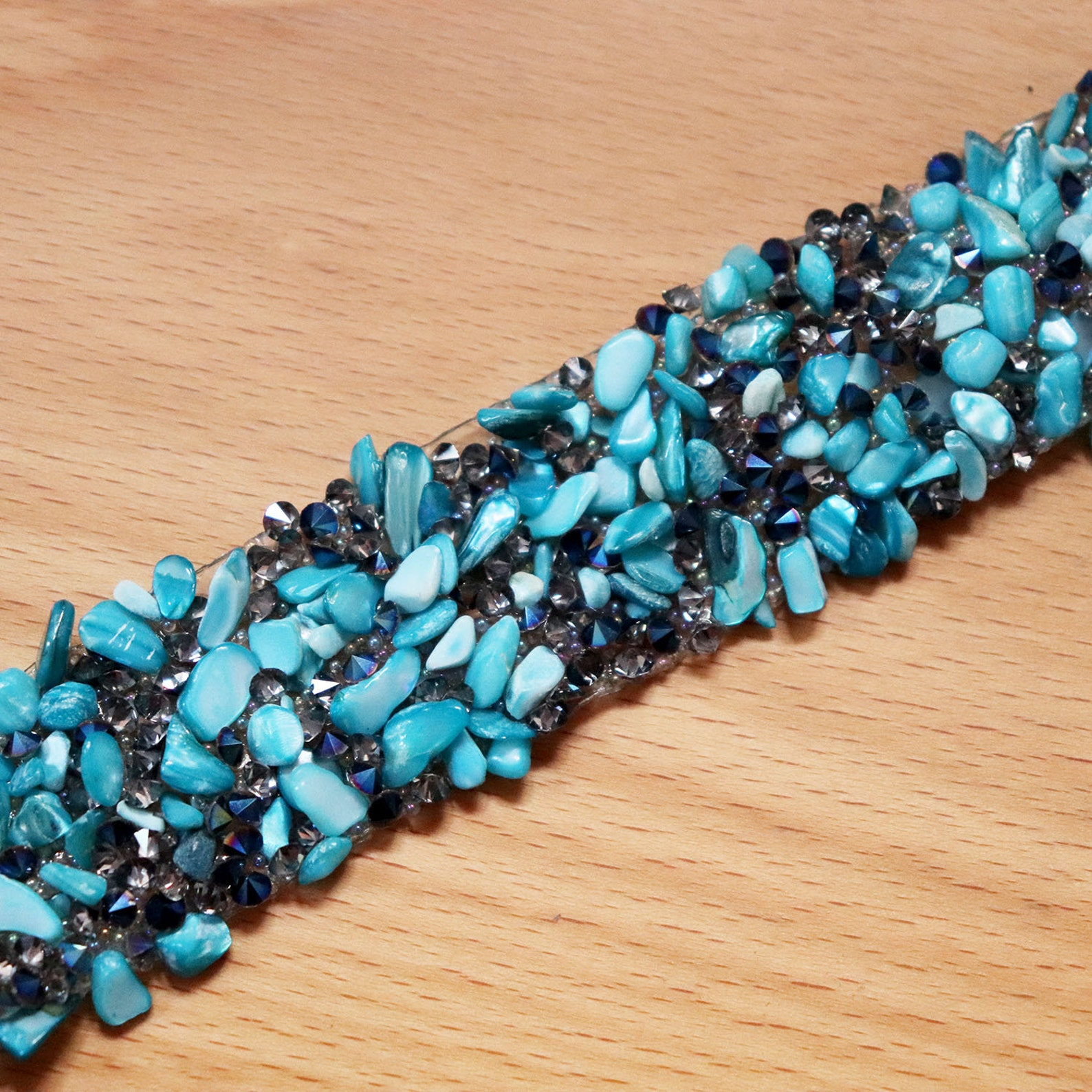1meter 2.5cm wide ballet skirt beaded crystal lace trim paillette trim wedding party cake decor clothing accessories diy blue