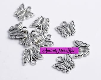 4 PCS anallergic Butterfly Pendants Create handmade costume jewellery DIY CHARMS s butterfly making bijoux 23 mm free nickel nature