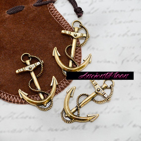 Charm Un Regalo Dal Cuore.1 Pz Pendente Ciondolo Charm Ancora Grande 47x30mm Nare Estate Nautica Barca Big Pendant Ancor Charm Sea Nautical Summer