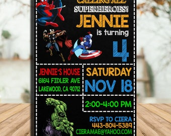 superhero birthday invitation etsy