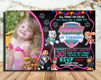 Paw Patrol Invitation Girl Birthday Party Invitations