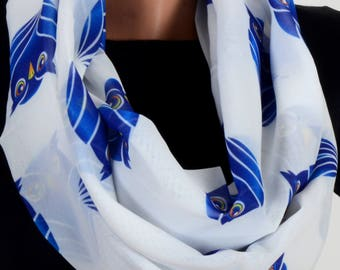 Owl Pattern Scraf White Scarf Infinity Scarf Fall Winter Birthday Woman Gift For Her Wife Winter Fashion Accessories
