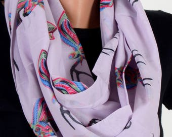Deer Pattern Scraf Lila Scarf Infinity Scarf Fall Winter Birthday Woman Gift For Her Wife Winter Fashion Accessories