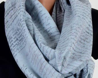 Writing Pattern Scraf Blue Scarf Infinity Scarf Fall Winter Birthday Woman Gift For Her Wife Winter Fashion Accessories