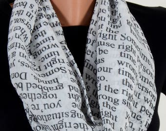 Writing Pattern Scraf White Scarf Infinity Scarf Fall Winter Birthday Woman Gift For Her Wife Winter Fashion Accessories