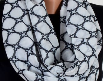 Geometric Pattern Scraf White Scarf Infinity Scarf Fall Winter Birthday Woman Gift For Her Wife Winter Fashion Accessories