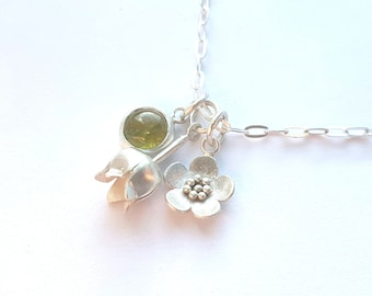 Flower necklace, silver flower necklace, contemporary necklaces, contemporary charm necklaces, little charm necklace, spring gift, flowers