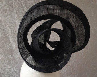 Black headpiece, black hat, black race hat, black statement hat