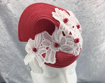 Red hat, red and white hat, flower hat, white lace hat, red beaded hat