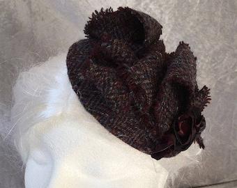Tweed hat, tweed fascinator, tweed headpiece