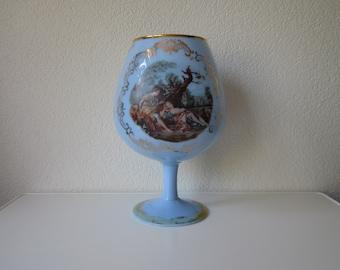 XL jar vase glass Victorian bohemia Blue