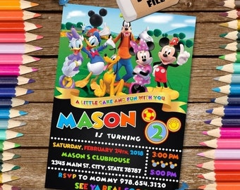 ON SALE 35% Mickey Mouse Clubhouse Invitation. Mickey Mouse Clubhouse  Birthday Invitation. Mickey Mouse Clubhouse Printables.