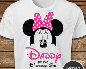 6ebff58b Printable Minnie Mouse Daddy of the Birthday Girl Iron On Transfer. Minnie  Mouse Daddy Iron On Transfer. Minnie Mouse Dad Iron On T-Shirt.
