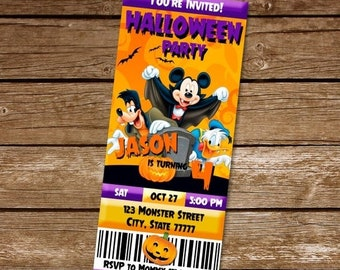 ON SALE 35 Mickey Mouse Halloween Invitation Disney Birthday Party