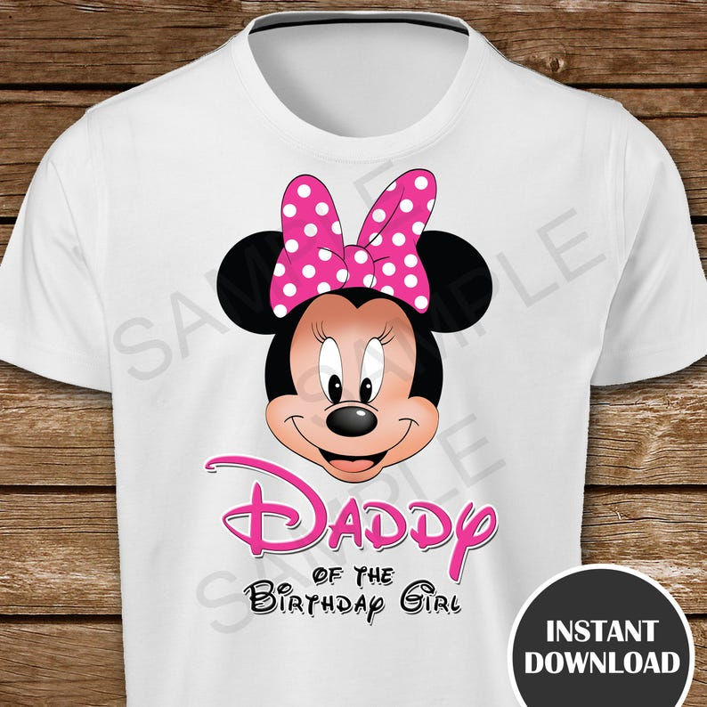 de5d4512 Printable Minnie Mouse Daddy of the Birthday Girl Iron On | Etsy