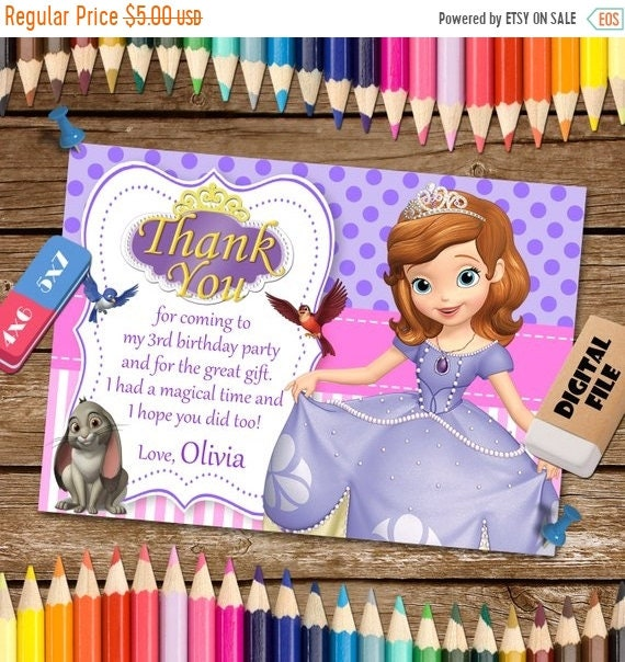 On Sale 35 Sofia The First Thank You Card Sofia The First Etsy