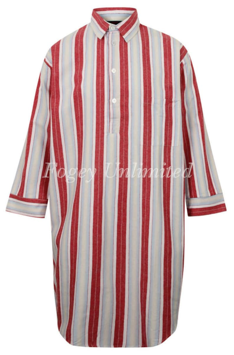 Vintage Style Menswear UK 1920s, 1930s, 1940s, 1950s, 1960s, 1970s Traditional style Closed front button up Long Nightshirt by Somax Red Stripe $71.00 AT vintagedancer.com