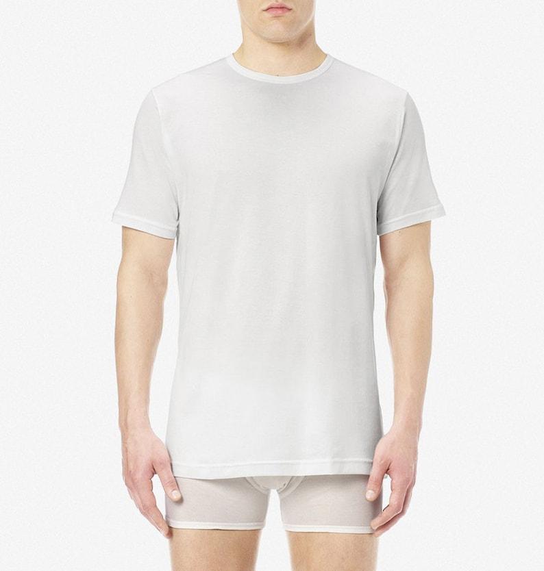 1940s Men's Underwear: Briefs, Boxers, Unions, & Socks Sunspel Superfine Cotton T-Shirt $56.80 AT vintagedancer.com