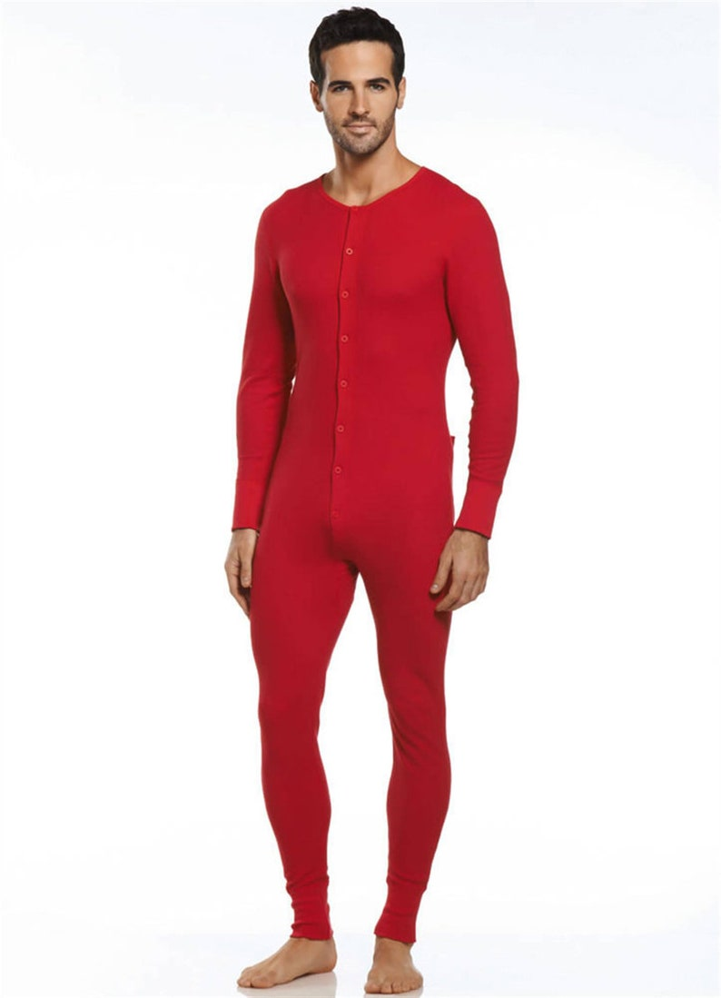 1920s Men's Underwear, Pajamas, Robes and Socks History Vintage Style Button front Union Suit (Combinations) in Traditional Red or White $63.99 AT vintagedancer.com
