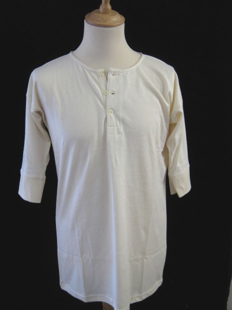 1920s Men's Underwear, Pajamas, Robes and Socks History Vintage Pattern Traditional 3 Button Undershirt Short sleeve or LONG sleeve $54.00 AT vintagedancer.com