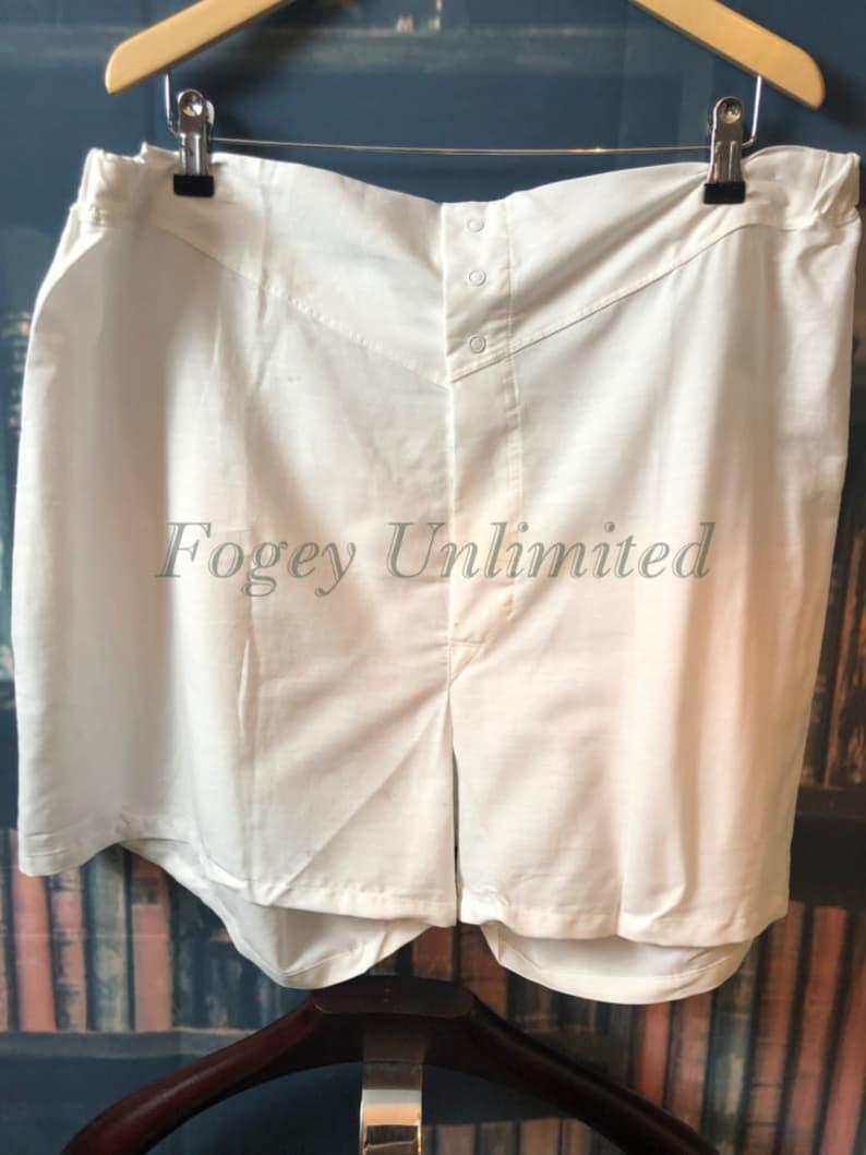 1940s Men's Underwear: Briefs, Boxers, Unions, & Socks Traditional style Button front Yoke front Long cut Boxer Shorts White $56.80 AT vintagedancer.com
