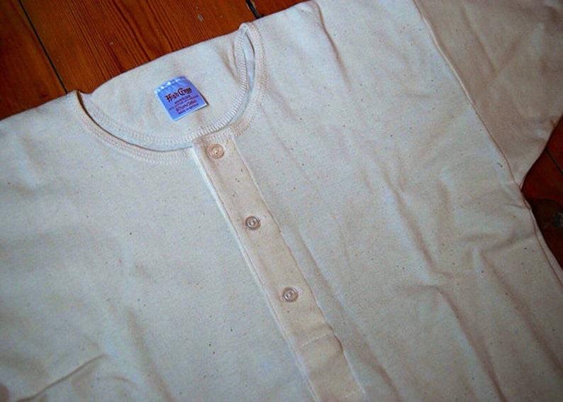 1940s Men's Underwear: Briefs, Boxers, Unions, & Socks Traditional 3 Button Front Undershirt SHORT Sleeve Vintage stock $71.00 AT vintagedancer.com