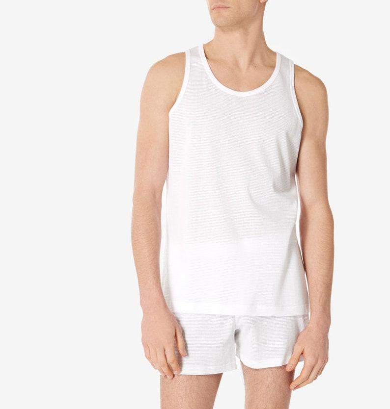 1940s Men's Underwear: Briefs, Boxers, Unions, & Socks Sunspel Cellular Cotton Vest/Singlet $52.60 AT vintagedancer.com