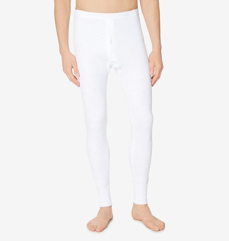 1940s Men's Underwear: Briefs, Boxers, Unions, & Socks Sunspel Mens Thermal Long Johns White $71.00 AT vintagedancer.com