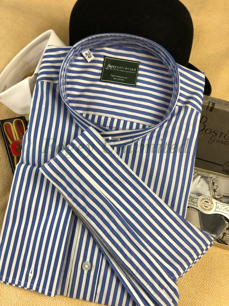 1920s Men's Dress Shirts, Casual Shirts Traditional Collarband Tunic Shirt for your Detachable Stiff collar $71.00 AT vintagedancer.com
