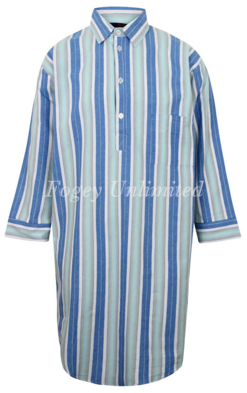 Vintage Style Menswear UK 1920s, 1930s, 1940s, 1950s, 1960s, 1970s Traditional style Closed front button up Long Nightshirt by Somax $71.00 AT vintagedancer.com