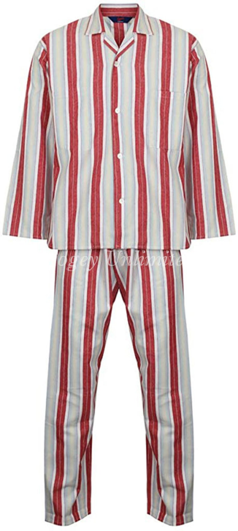 1930s Men's Clothing Traditional style Tie Cord waist Pyjamas. Brushed Flannel.. By Somax Red $71.00 AT vintagedancer.com