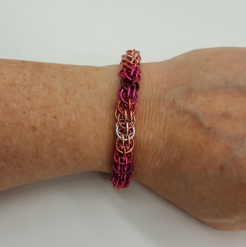 Full Persian Split Bracelet Chainmail Ginger 6 in 1 Hot Pink Renaissance Chain Mail Pink Chainmaille Wine Red Coral