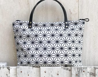 DEMETER: large fabric bag with leather handles