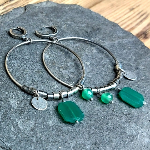 Silver earrings with green onyx \u2022 Big wheels \u2022 Raw silver \u2022 Handmade earrings \u2022 Oxidized silver \u2022 Discount 15/%