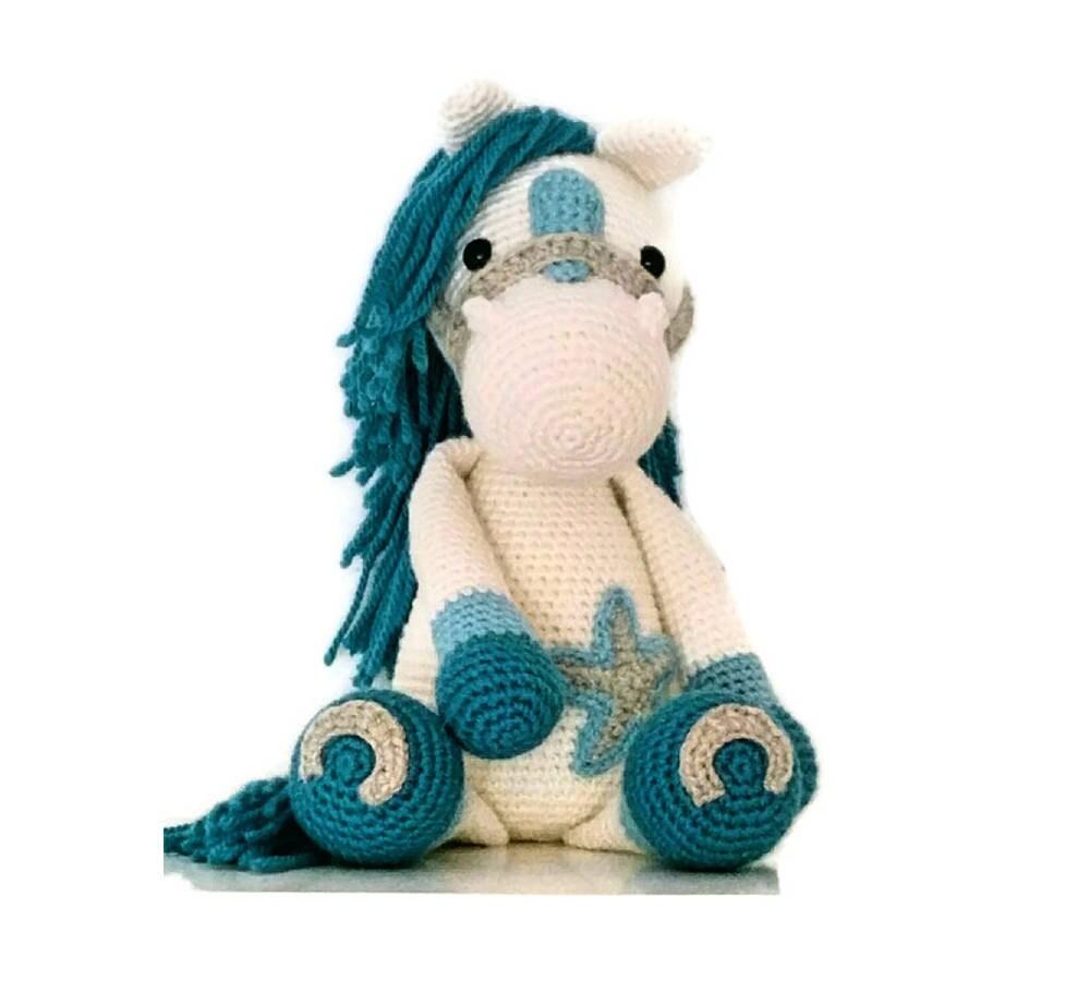 caballo blanco y azul caballo de peluche caballo de crochet | Etsy