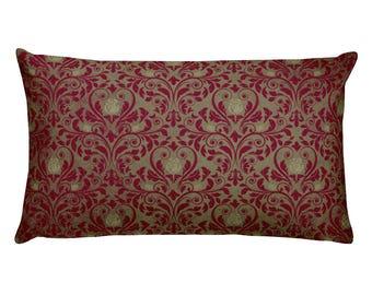 Burgundy Sage Damask Rectangular Pillow Accent Pillow Throw Pillow Designer