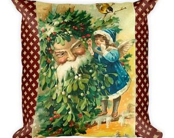 Christmas Santa Claus Old World Santa Square Pillow Accent Pillow Throw Pillow Renee Davenport Version 2