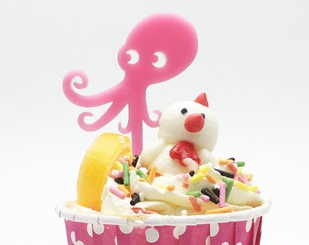 Pink Squid Set of 10 Cupcake Toppers for Party Decorations