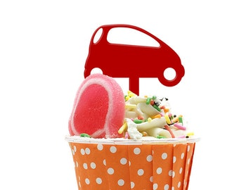 Mini City Car Set of 10 Cupcake Acrylic Toppers for Party Wedding Birthday Decorations