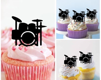 Drum Set Cupcake Toppers Laser Cut Acrylic For Wedding Birthday Baby Shower Bachelorette Engagement Party Decor