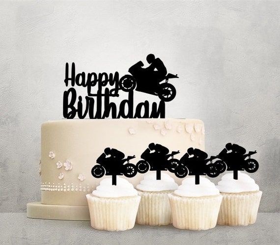 Happy Birthday Motorcycle Racing Acrylic Toppers For Party