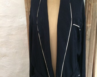 Stunning deep rich blue moiré silk dressing gown. Male or female. Very Noel Coward. Bought in Harrods in 1980s. Made in France.