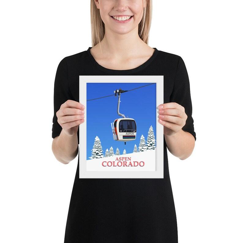 Aspen vintage gondola framed poster