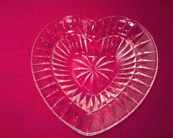 Vintage Mikasa Crystal Heart Shaped Dish