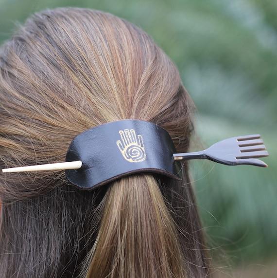 Leather Hair Barrette In Boho Style Bone Hair Stick Hand Etsy