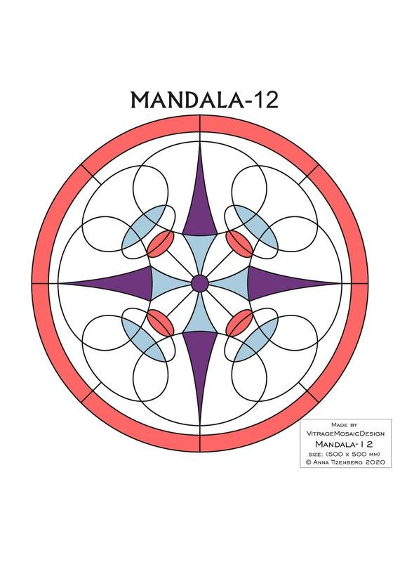 mandala glass design PDF pattern gift vitrage pattern glass suncatcher mosaic pattern Stained glass pattern
