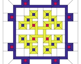 Stained glass pattern, PDF pattern, Celtic square, mosaic pattern, vitrage art