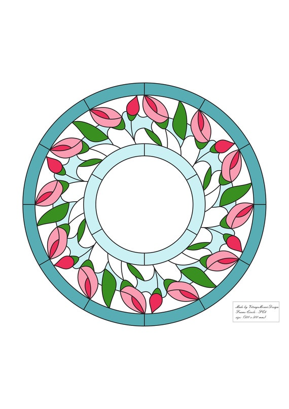 Stained Glass Pdf Pattern Frame Circle Suncatcher Etsy