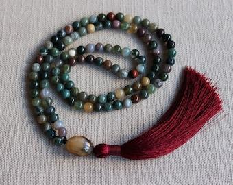 Moss Agate 108 mala beads Buddhist Meditation Mantra Soothing Calming Yoga Abundance Tassel Green beads Japa Mala Gem Necklace jewelry gift